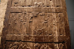 Black Obelisk 841 BC. Earliest known picture of an Israelite: possibly Jehu son of Omri, or Jehu's ambassador, kneeling at the feet of Shalmaneser III.