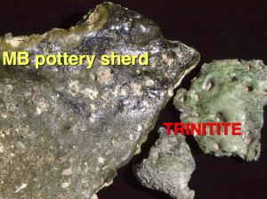 Trinitite on the back of a pottery shard from Tall el-Hammam